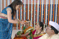 Indian hindu wedding rituals in showing respect and blessings Royalty Free Stock Photos