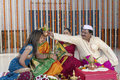 Indian hindu wedding rituals in showing respect and blessings Royalty Free Stock Photo