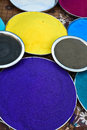 Indian holi colors festival decorated in plates Stock Photography
