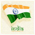 Indian independence day celebrations card th of august with national flag on beige background Royalty Free Stock Photos