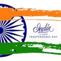 Indian Independence Day greeting card with Ashoka wheel Royalty Free Stock Photo