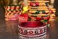 Indian jewellery stone jadau lac bangles Royalty Free Stock Photo