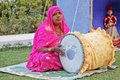 Indian lady folk singer drummertablas Royalty Free Stock Image