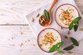 Indian lassi curd with cardamon, mint, vanilla and saffron Royalty Free Stock Photo