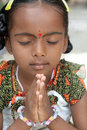 Indian Little Girl Praying Stock Images
