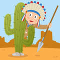Indian lurking behind a cactus cartoon american or native boy holding spear and in desert landscape Royalty Free Stock Photo
