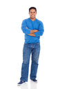 Indian man cheerful with arms crossed isolated on white Stock Photo