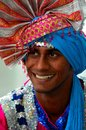 Indian man smiles wearing colorful turban singapore november an traditional clothes and headdress the was part of an Royalty Free Stock Photography