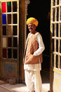 Indian man standing by the doorway at mehrangarh fort jodhpur rajasthan india Royalty Free Stock Photos