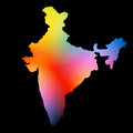 Indian map design colorful on dark background Stock Photo