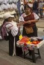Indian market of Otavalo in Ecuador.