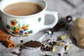 Indian masala chai, tea made of hot ayurvedic spices Stock Images
