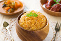 Indian meal biryani rice or briyani and curry fresh cooked dish Stock Image