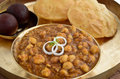 Indian meal consisting chole purias main dish Stock Image