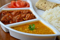 Indian meal consisting of roti rice dal and vegetable kofta Royalty Free Stock Images