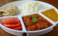 Indian meal consisting of roti rice dal and vegetable kofta Stock Photography