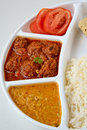 Indian meal consisting of roti rice dal and vegetable kofta Stock Images