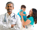 Indian medical doctor and patient family smiling health care concept isolated on white background Stock Images