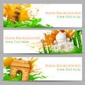 Indian monument banner illustration of set of for colorful india with Royalty Free Stock Images