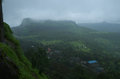 Indian mount lohgad in monsoon Royalty Free Stock Photo