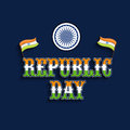 Indian national flag and ashoka wheel for indian republic day celebration stylish text in tricolor with on blue background Royalty Free Stock Photos