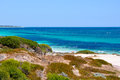 Indian ocean hillarys western australia wa january secluded beach area with vegetated coastal dunes and a stunning seascape in Stock Images