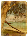 Indian Ocean landscape, Seychelles. Old postcard. Royalty Free Stock Photo