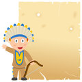 Indian and old parchment a cartoon american or native with a blank scroll isolated on white background Royalty Free Stock Images