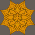 Indian ornate mandala doily round lace pattern circle background with many details looks like crocheting handmade lacy Royalty Free Stock Photography