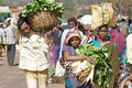 Indian people at the market in the rural area Stock Photo