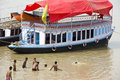 Indian people are swimming on the banks of the river Ganges Royalty Free Stock Photo