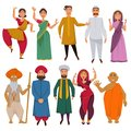 Indian people traditional clothes vector cartoon