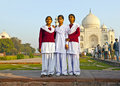 Indian people visit taj mahal agra india november tourists pose for a foto at the on november in agra india it is an unesco world Royalty Free Stock Photography