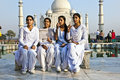 Indian people visit taj mahal agra india november tourists pose for a foto at the on november in agra india it is an unesco world Stock Photo