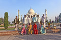 Indian people visit taj mahal agra india november tourists pose for a foto at the on november in agra india it is an unesco world Stock Photos