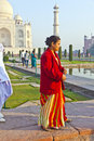 Indian people visit taj mahal agra india november tourists walk around the on november in agra india it is an unesco world Stock Photography
