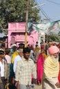 Indian people walking in the street of Pushkar Royalty Free Stock Photo