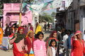 Indian people walking in the street of Pushkar Royalty Free Stock Photo