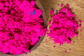 Indian pigments colorful finely powdered pigment in a strong magenta hue Stock Images