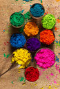 Indian pigments colorful finely powdered in a variety of beautiful colors Stock Image