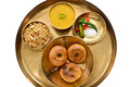 Indian rajasthani food meal consisting of daal bati and choorma Royalty Free Stock Photos