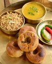 Indian rajasthani food meal consisting of daal bati and choorma Royalty Free Stock Photography