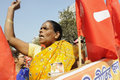 Indian rally kolkata february an angry woman supporter during a political in kolkata india on february Royalty Free Stock Image
