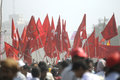 Indian rally kolkata february cluster of communist flags during a political in kolkata india on february Royalty Free Stock Photo