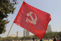 Indian rally kolkata february the communist symbol of hammer sickle flying during a political in kolkata india on february Royalty Free Stock Image