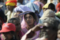 Indian rally kolkata february an woman listening to the speech and her veil acting as sun protector during a political in kolkata Stock Photo