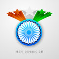 Indian Republic Day celebration with Ashoka Wheel and 3d stars. Royalty Free Stock Photo