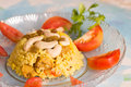 Indian rice dish vegetarian veg with cashew nuts and tomato slices decoration presented in a glass plate traditional and delicious Stock Photos
