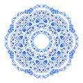 Indian round ornament, kaleidoscopic floral pattern, mandala. Design made in Russian gzhel style and colors