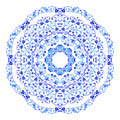 Indian round ornament, kaleidoscopic floral pattern, mandala. Design made in Russian gzhel style and colors. Royalty Free Stock Photo